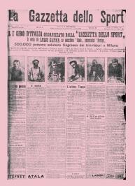 Edição de 1909 da Gazzetta mostrando o primeiro vencedor do Giro d'Italia, Luigi Ganna.